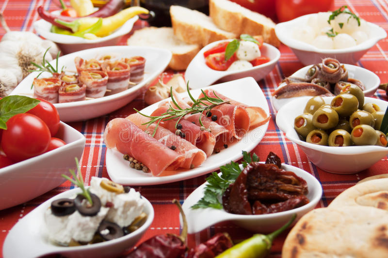 Appetizer food. Antipasto, tapas, various appetizer food traditional in meditarranean countries stock images