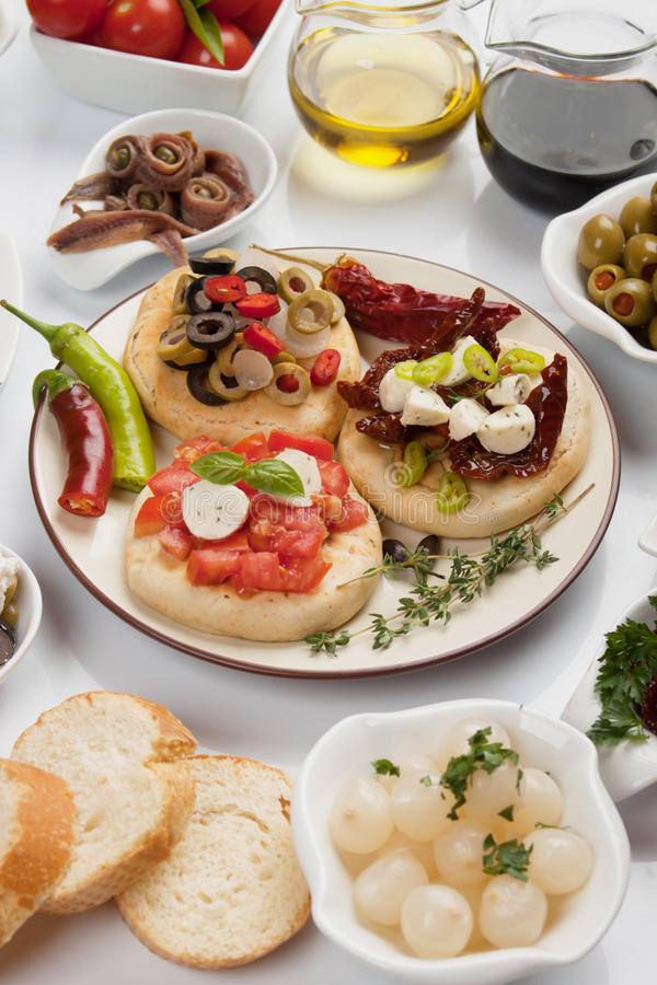 Appetizer food. Antipasto, tapas, various appetizer food traditional in meditarranean countries stock photos