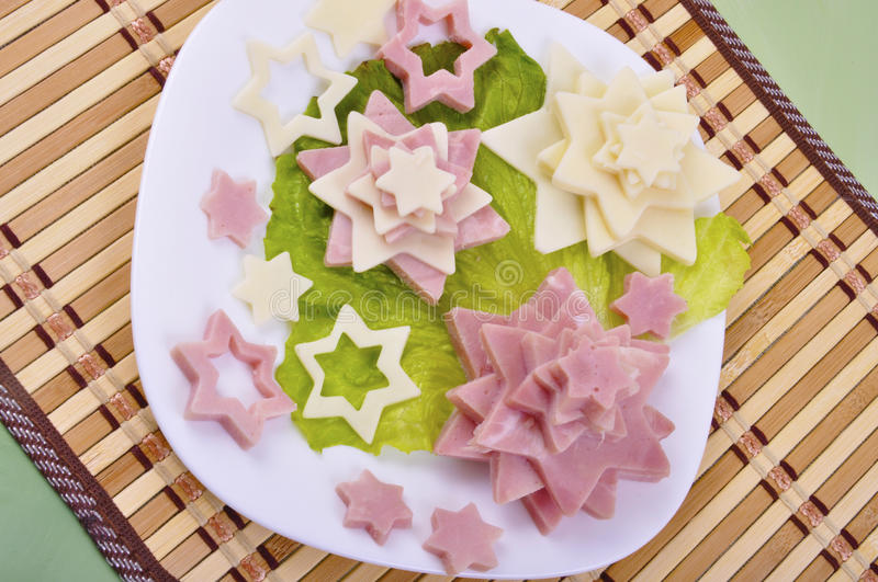 Appetizer with ham and cheese royalty free stock images
