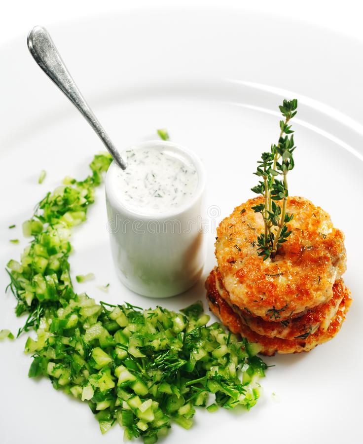 Download Appetizer - Mini Salmon Steak Stock Image - Image of deep, cucumber: 8651903