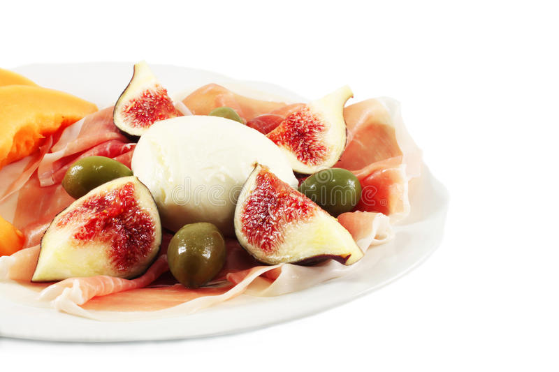 Appetizer with mozzarella royalty free stock image
