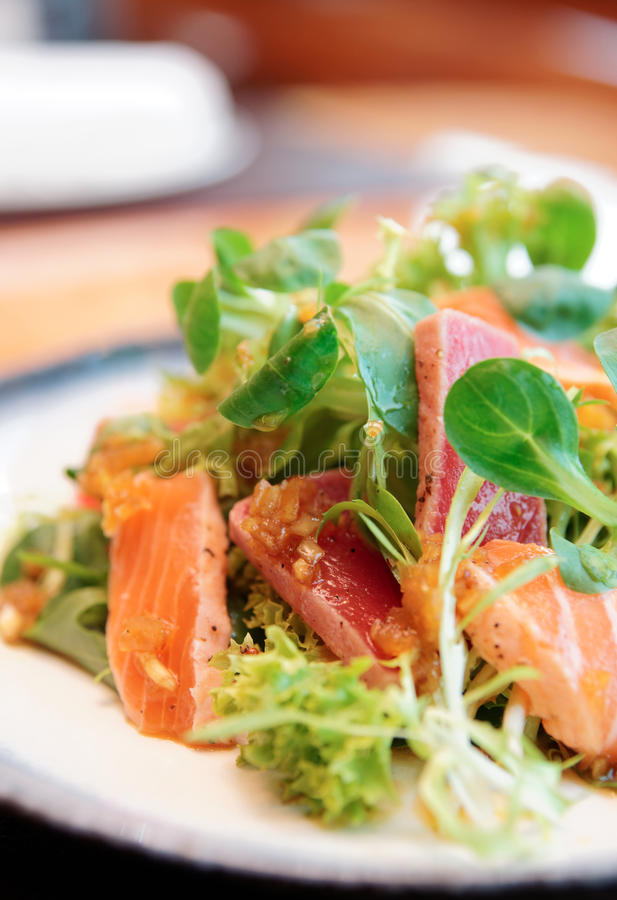 Download Appetizer With Rare Fried Tuna And Salmon Stock Photo - Image of dining, salad: 33465316