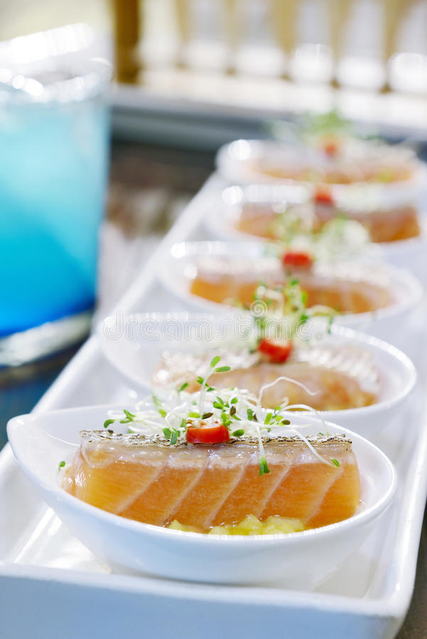 Appetizer with salmon royalty free stock photography