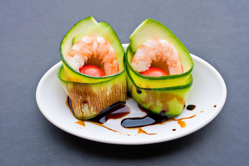 Appetizer of shrimp stock photography