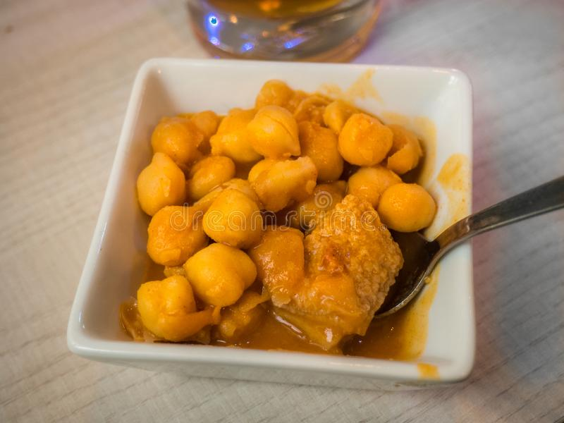 Appetizer  chickpeas with beef tripe stew royalty free stock photo