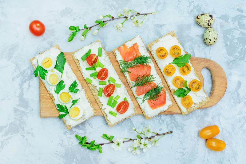 Appetizer Table with Mini Sandwich Snack Top View stock photos
