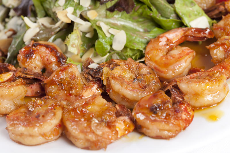Appetizer With Yummy Shrimps Stock Photos