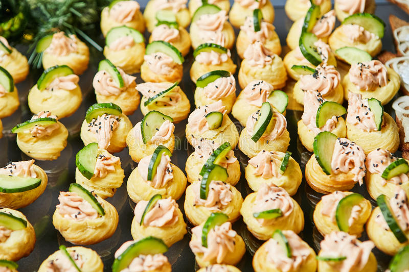 Appetizers at a banquet stock images