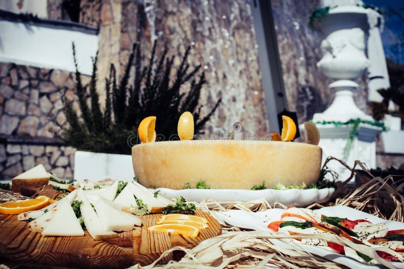 Appetizers with delicious mixes of tastes of Italian cheese outdoor royalty free stock photography