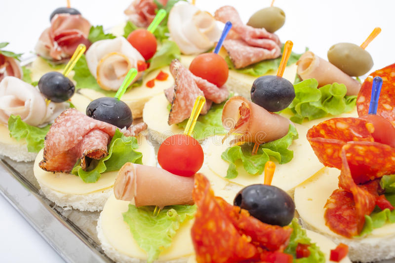 Appetizers mini desserts on catering buffet royalty free stock images