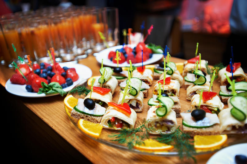 Appetizers salads and bread. On bar royalty free stock photos