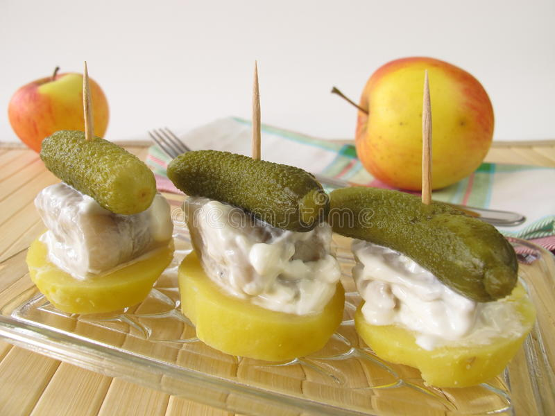 Appetizers of small herring rolls stock photos