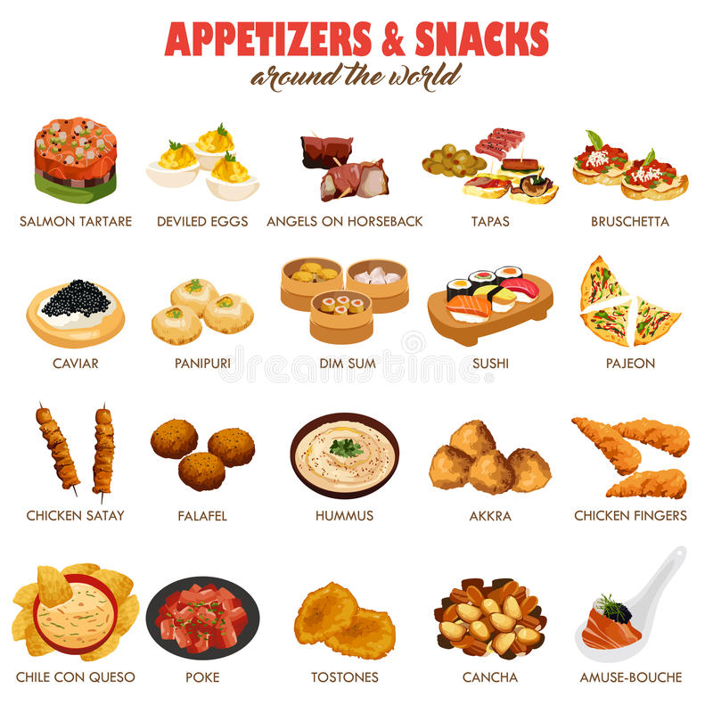 Appetizers and Snacks Icons vector illustration