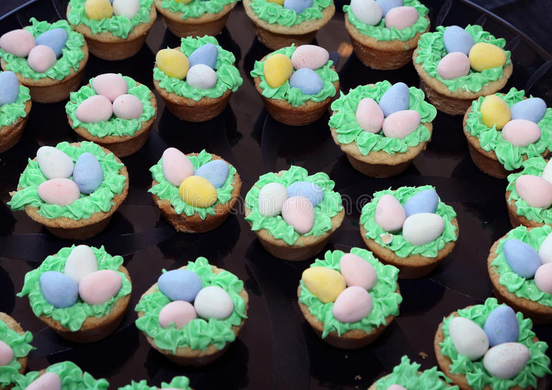 Appetizers. Tray of cookies decorated for Easter royalty free stock photos