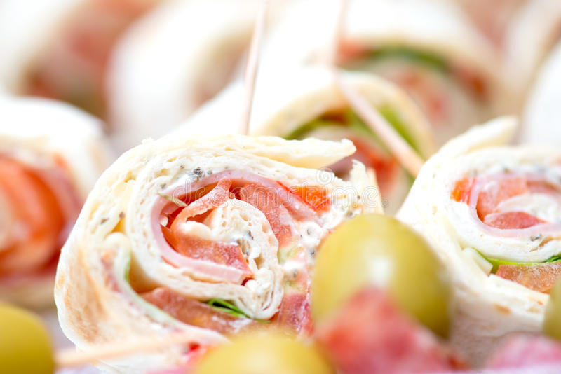 Appetizers at wedding table. Details royalty free stock photo