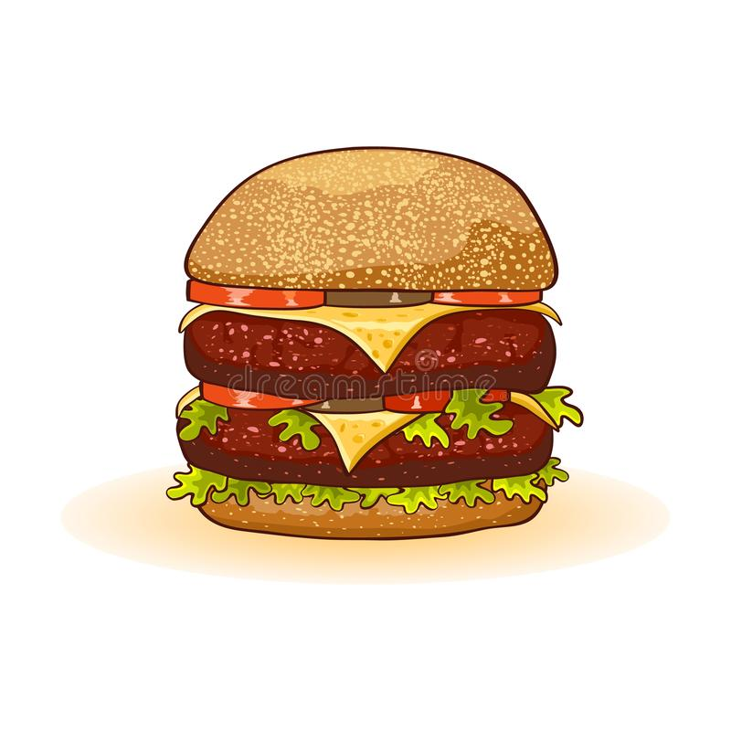 Appetizing big double cheeseburger with beef patties or steak, cheese, tomatoes, pickles, lettuce. royalty free illustration