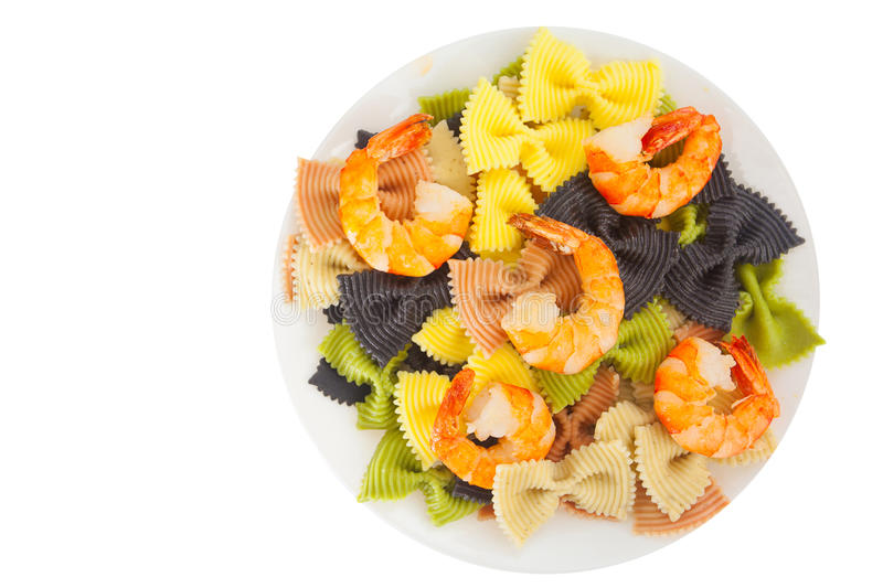 Download Appetizing Colored Farfalle Pasta With Chrimp Stock Photo - Image: 83712190