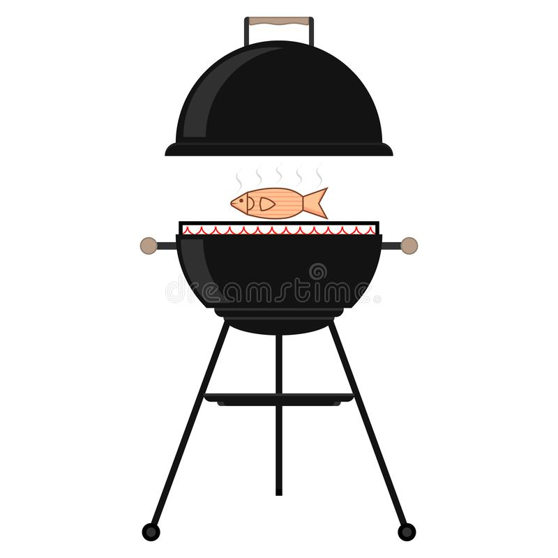 Appetizing fish on the grill. Grilled fish on the grid. Bbq time and barbecue party. Fire, smoke and fish meat. Opened barbecue.. Isolated vector cartoon stock illustration