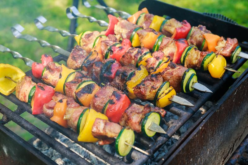 Appetizing fresh meat shish kebab prepared grill wood stock photography