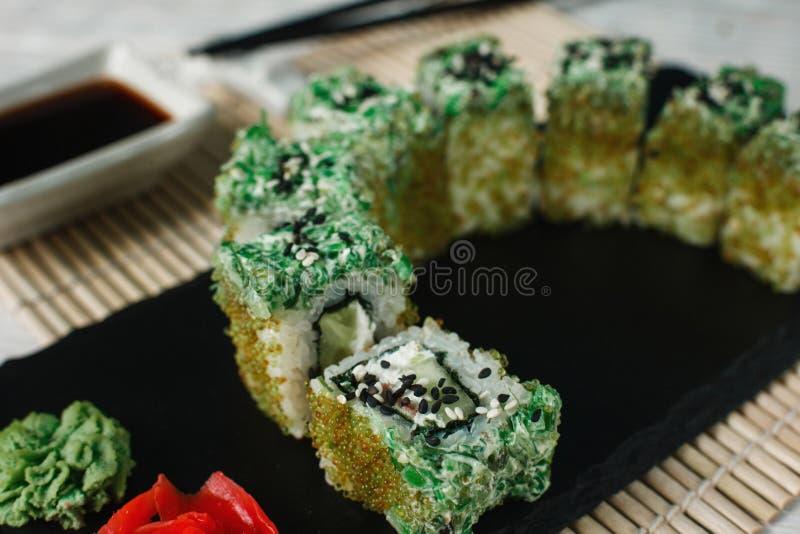 Appetizing fresh sushi, art food. Japanese cuisine royalty free stock photos