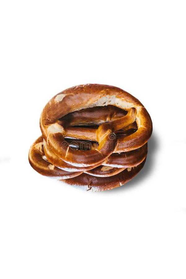 Appetizing German pretzels on a white background royalty free stock image