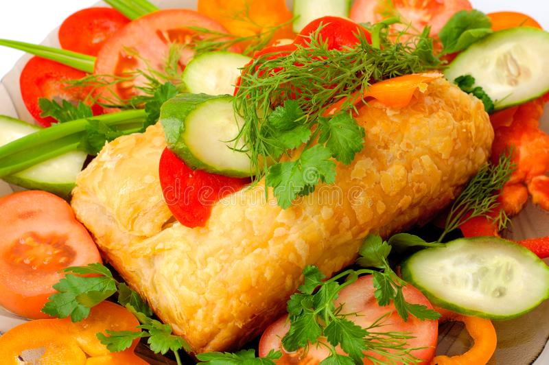 Appetizing meat pie with vegetables royalty free stock photography