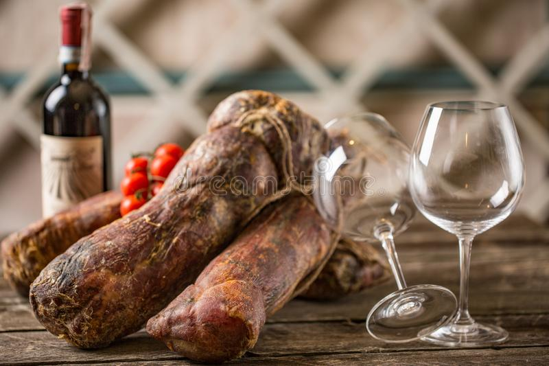 Appetizing meat, smoked horse meat stock image