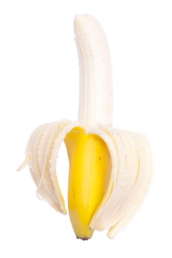 Appetizing peeled ripe banana isolated on a white background royalty free stock image