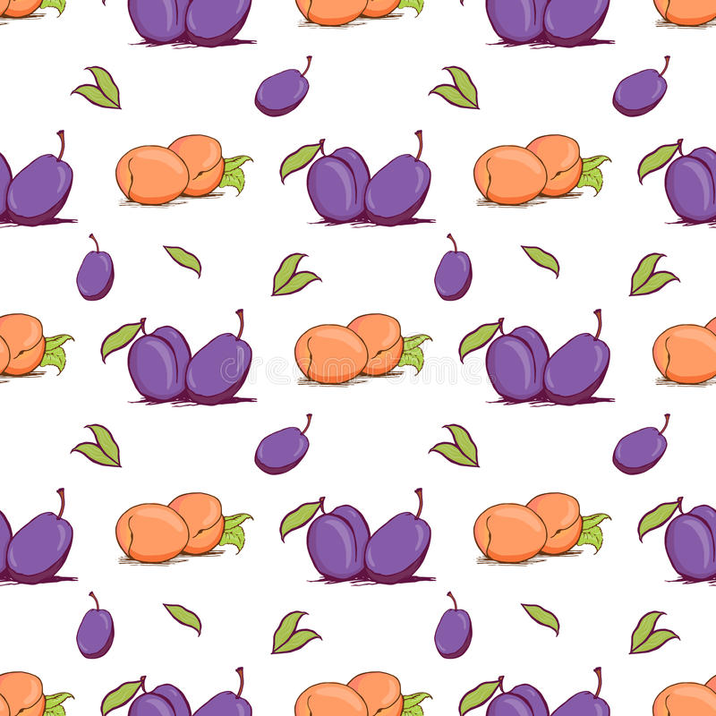 Appetizing plum and apricot sketch style vector seamless pattern stock illustration