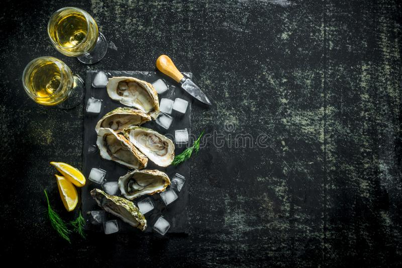 Appetizing raw oysters on a stone Board with ice cubes and glasses of white wine. On dark rustic background stock image