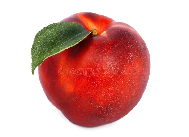 Appetizing ripe red nectarine close-up. Juicy and healthy fruit with green leaf, isolated on the white background. royalty free stock image