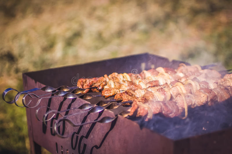 Appetizing roast pork shish kebab royalty free stock photos