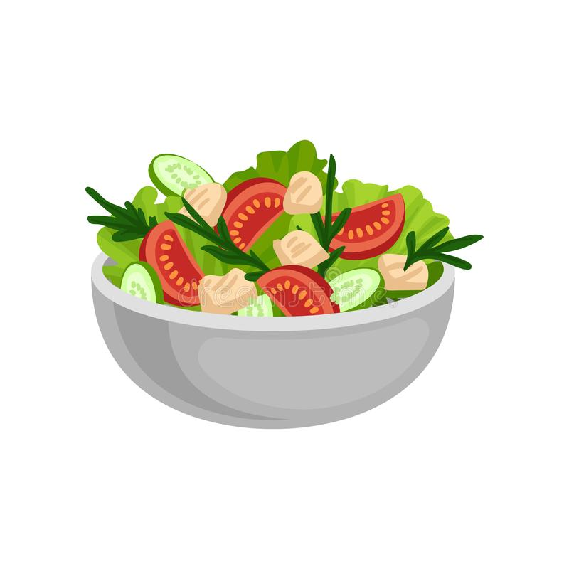Appetizing salad in big ceramic bowl. Tasty and healthy eating. Delicious meal for dinner. Flat vector design. Appetizing salad in big ceramic bowl. Tasty and vector illustration