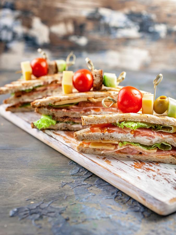 Appetizing sandwiches with beef and green salad. Traditional breakfast or lunch. Vertical shot stock photos