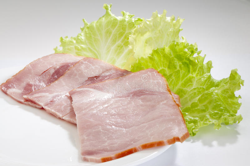 Appetizing Sliced Ham Close-up Stock Images