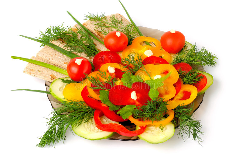 Appetizing vegetables and healthy bread royalty free stock image