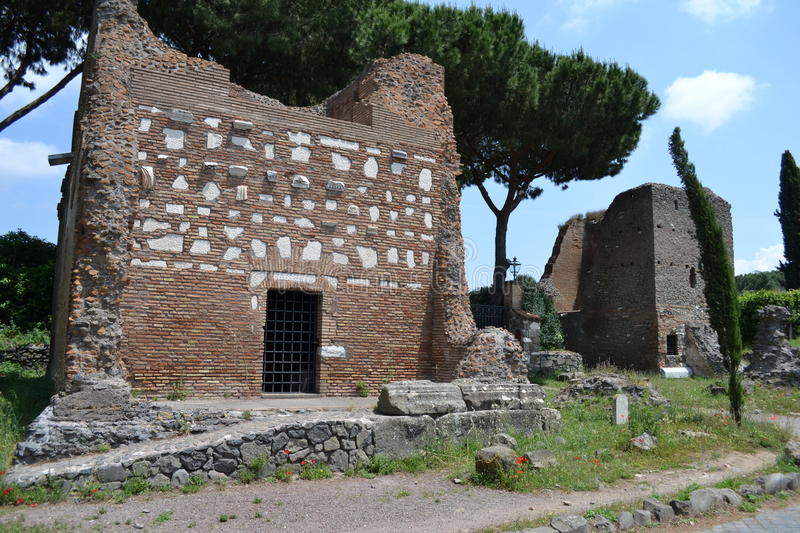 Appia antica. Ruins on appia antica road in Rome, Italy stock photography