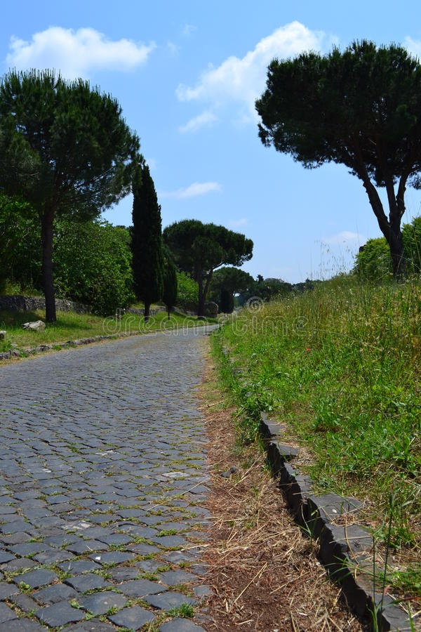 Appia antica. Road in Rome, Italy stock image
