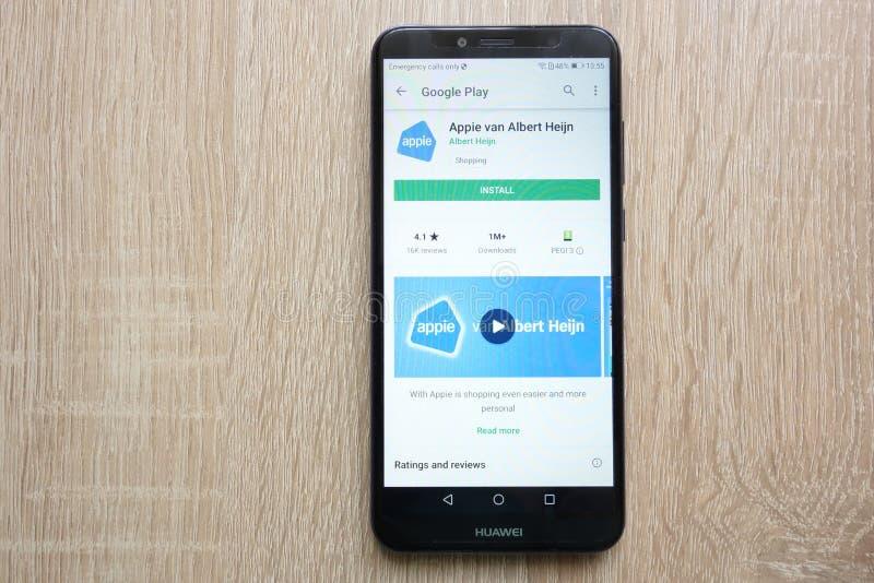 Appie-Packwagen Albert Heijn-App auf der Google Play Store-Website angezeigt auf Smartphone 2018 Huaweis Y6 lizenzfreies stockfoto