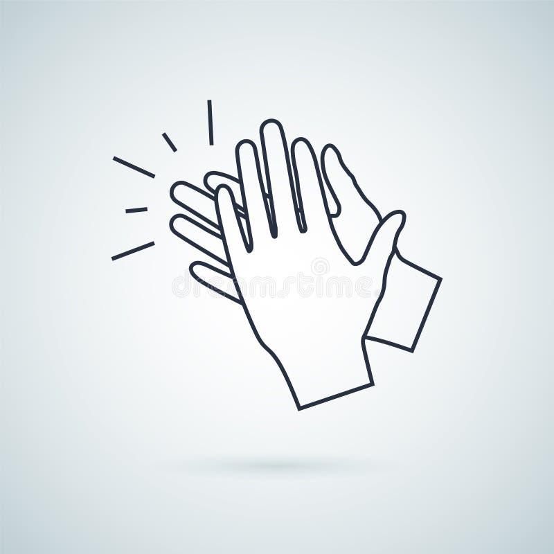 Applådera handsymbolen, symbol för illustrationvektortecken royaltyfri illustrationer