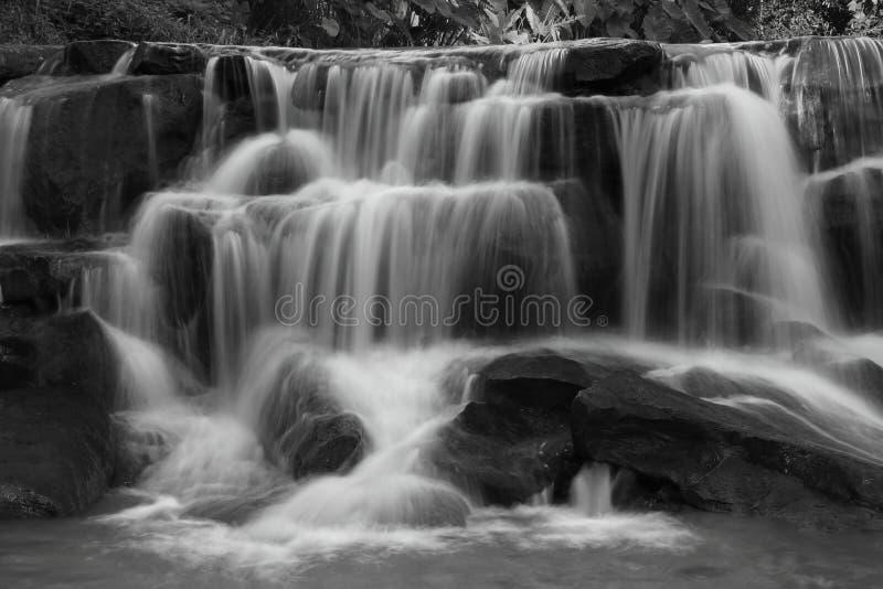 Applådera vattenfallet i den regniga säsongen som är djup inom den tropiska skogen av Thailand i svartvit färg royaltyfri bild