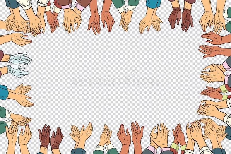 Applådhänder inramar en affärsidé, applåd vektor illustrationer