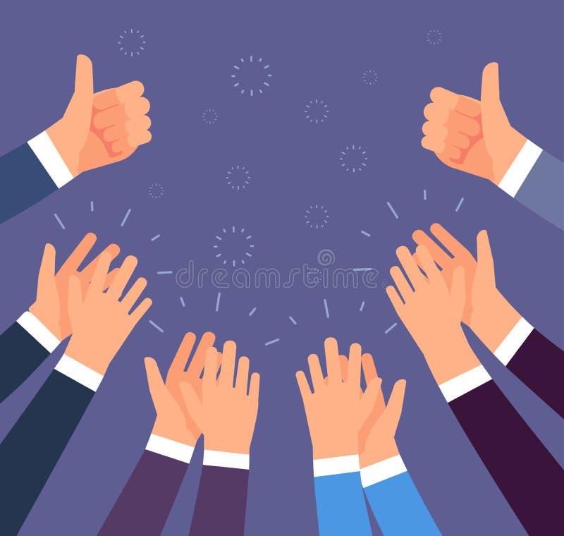 Applaudissement de mains Les pouces se lèvent et les gestes d'applaudissements Concept de vecteur de félicitation, d'appréciation illustration libre de droits