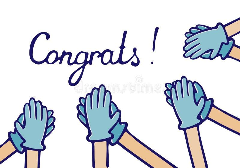 Applaus von Glückwünschen Hände in den medizinischen Handschuhen lizenzfreie abbildung