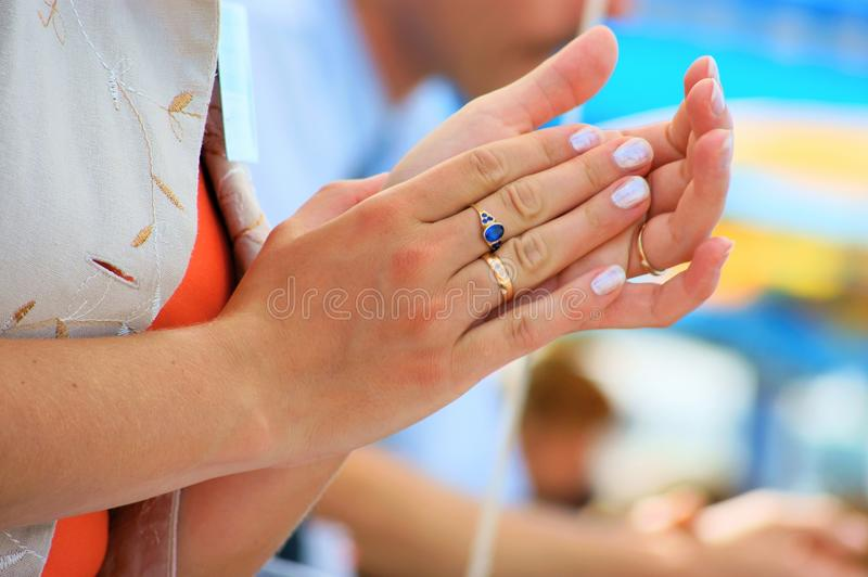 Applause. Student conference meeting clapping hands, applause royalty free stock photos