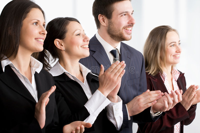 Applause. Happy modern business people applaud royalty free stock photos