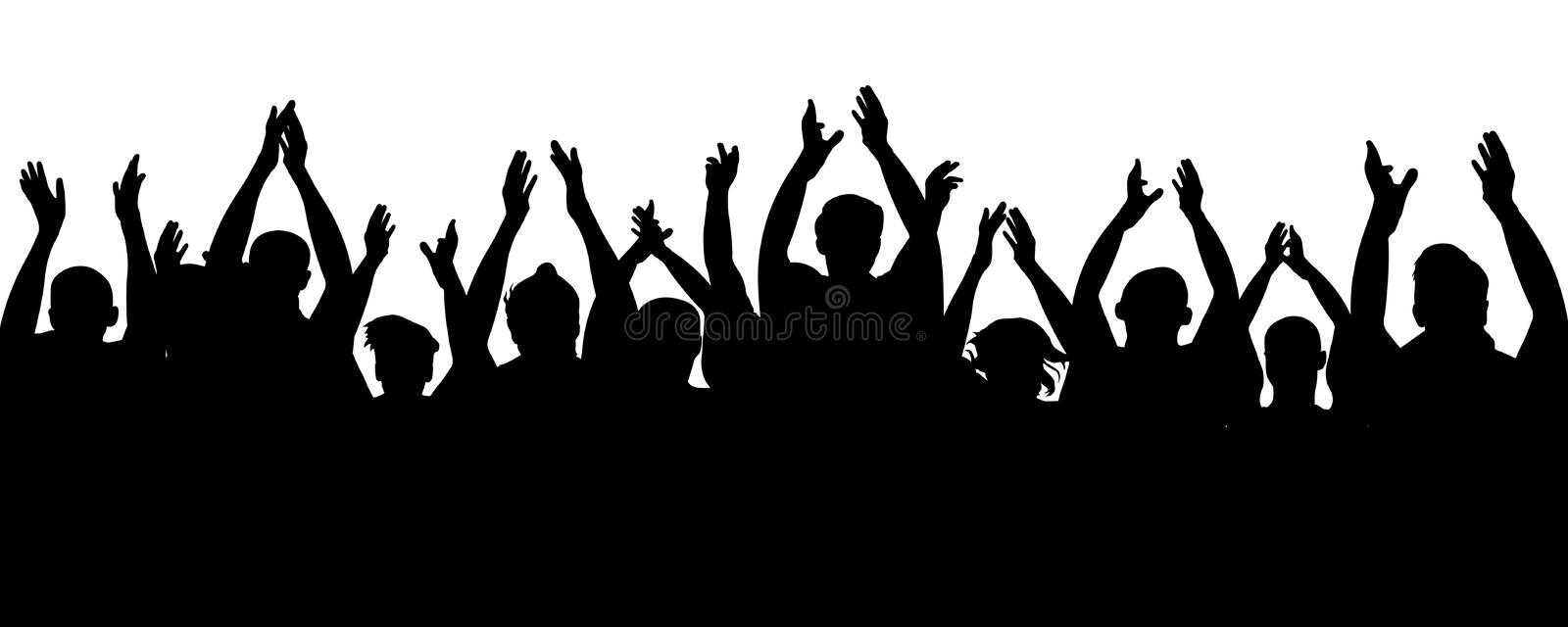Applause audience. Crowd people cheering, cheer hands up. Cheerful mob fans applauding, clapping. Party, concert, sport. royalty free stock photos