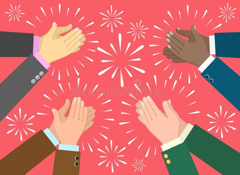 Clap hands ovation concept. Applause. Clap hands ovation vector illustration, business recognition, congratulation and appreciation concept stock illustration