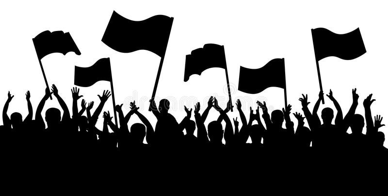 Applause crowd silhouette, cheerful people. Sports fans with flags vector illustration