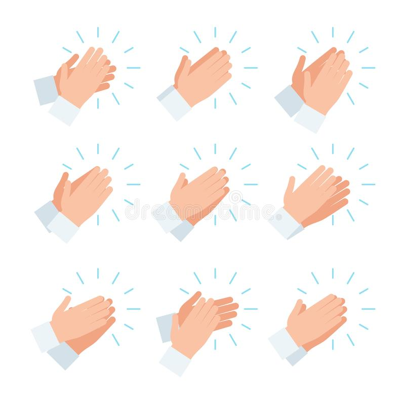 Applause icon set. Clapping hands, applause icon set. Vector illustration in flat style design, isolated on white background stock illustration